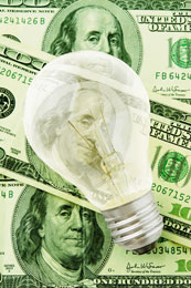 Light bulb on money, Fishbowl Blog