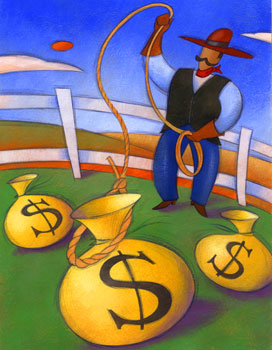Cowboy roping money with a lasso, Fishbowl Blog