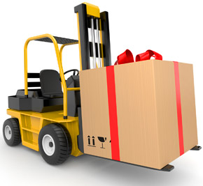 Forklift carrying a Christmas present, Fishbowl Blog